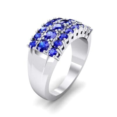 Tapered Three-Row Blue Sapphire Ring (1.58 CTW) Perspective View