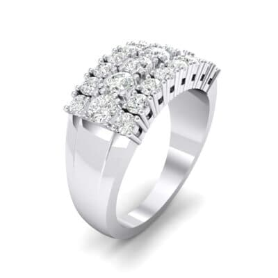 Tapered Three-Row Crystals Ring (0.64 Carat)