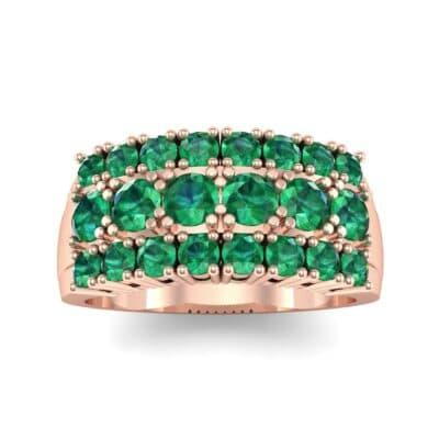 Tapered Three-Row Emerald Ring (1.58 Carat)