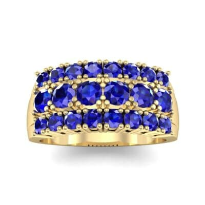 Tapered Three-Row Blue Sapphire Ring (1.58 Carat)