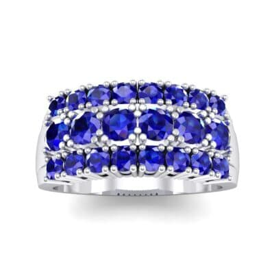 Tapered Three-Row Blue Sapphire Ring (1.58 CTW) Top Dynamic View