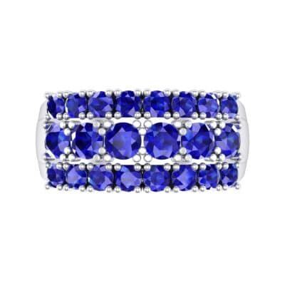 Tapered Three-Row Blue Sapphire Ring (1.58 CTW) Top Flat View