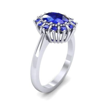 Regal Halo Blue Sapphire Engagement Ring (1.3 Carat)