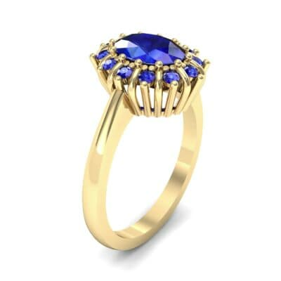 Regal Halo Blue Sapphire Engagement Ring (1.3 Carat)