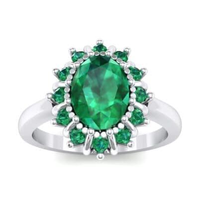 Regal Halo Emerald Engagement Ring (1.3 Carat)