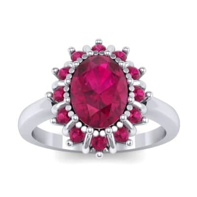 Regal Halo Ruby Engagement Ring (1.3 Carat)