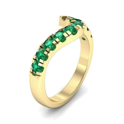 Asymmetrical Wave Pave Emerald Ring (0.92 Carat)