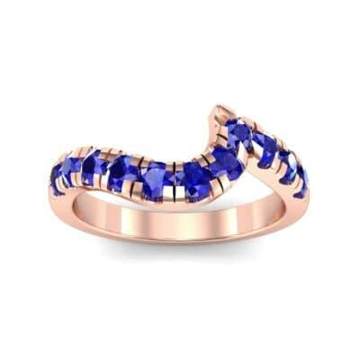 Asymmetrical Wave Pave Blue Sapphire Ring (0.92 Carat)