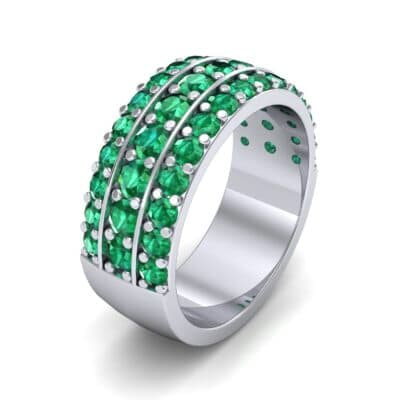 Wide Three-Row Emerald Ring (2.22 Carat)