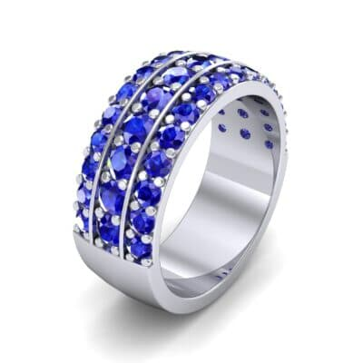 Wide Three-Row Blue Sapphire Ring (2.22 CTW) Perspective View