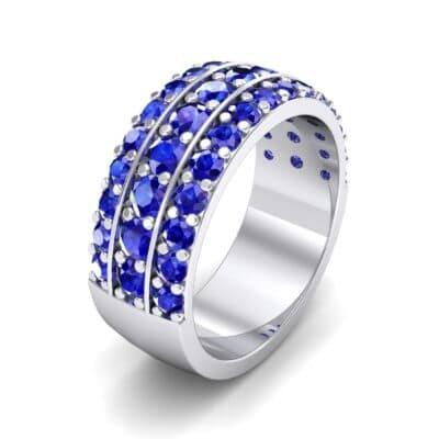 Wide Three-Row Blue Sapphire Ring (2.22 Carat)
