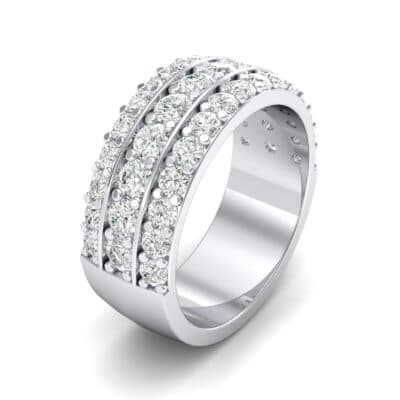 Wide Three-Row Crystals Ring (0.9 Carat)
