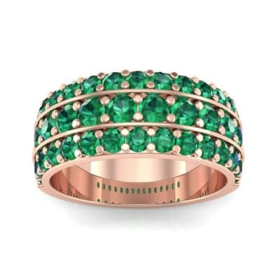 Wide Three-Row Emerald Ring (2.22 CTW) Top Dynamic View