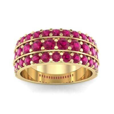 Wide Three-Row Ruby Ring (2.22 Carat)