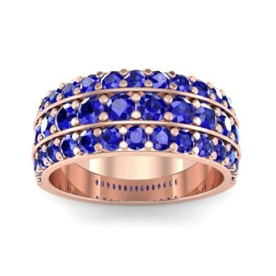 Wide Three-Row Blue Sapphire Ring (2.22 CTW) Top Dynamic View