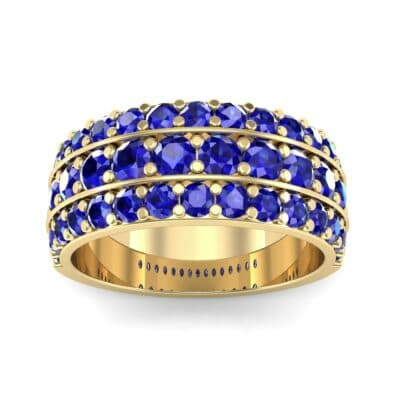 Wide Three-Row Blue Sapphire Ring (2.22 Carat)