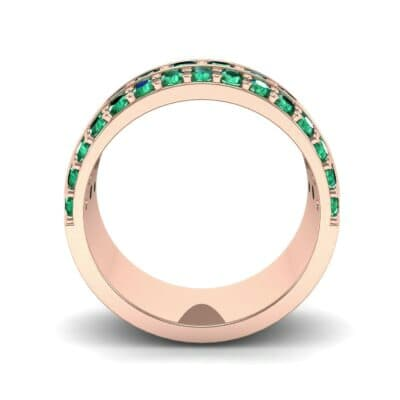 Wide Three-Row Emerald Ring (2.22 CTW) Side View