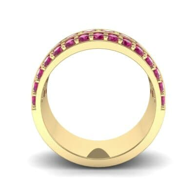 Wide Three-Row Ruby Ring (2.22 CTW) Side View
