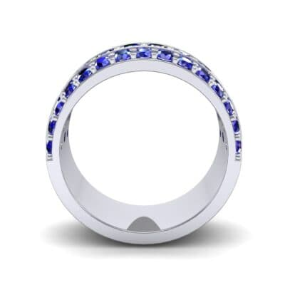 Wide Three-Row Blue Sapphire Ring (2.22 CTW) Side View