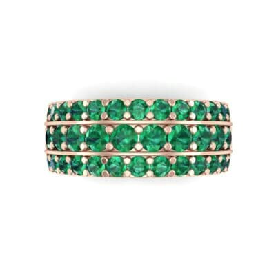 Wide Three-Row Emerald Ring (2.22 CTW) Top Flat View