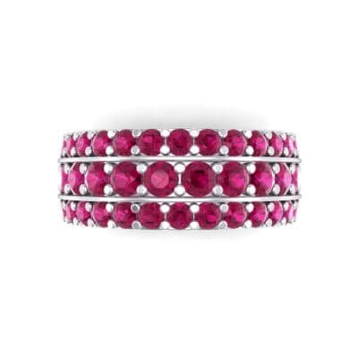 Wide Three-Row Ruby Ring (2.22 CTW) Top Flat View