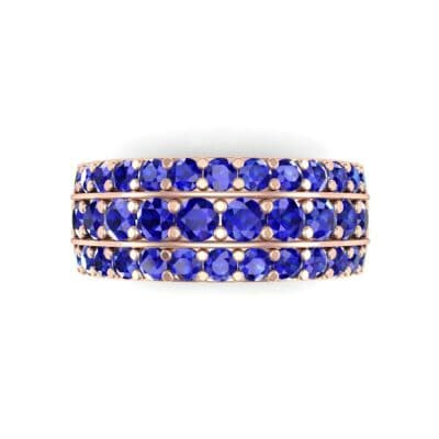 Wide Three-Row Blue Sapphire Ring (2.22 CTW) Top Flat View