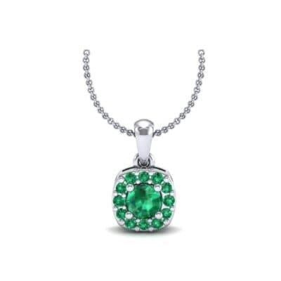 Cushion-Cut Halo Emerald Pendant (0.44 Carat)
