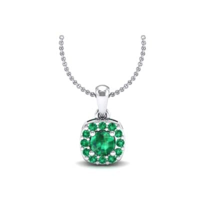 Cushion-Cut Halo Emerald Pendant (0.44 Carat)
