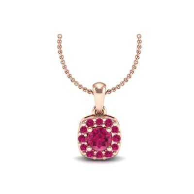Cushion-Cut Halo Ruby Pendant (0.44 Carat)