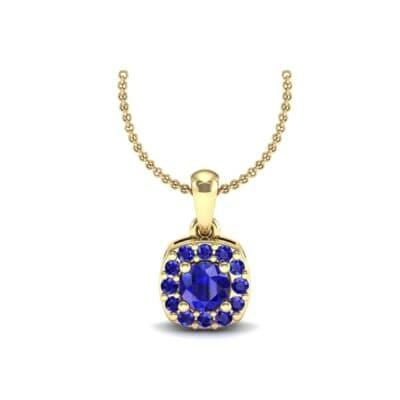 Cushion-Cut Halo Blue Sapphire Pendant (0.44 Carat)