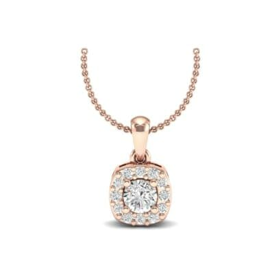 Cushion-Cut Halo Diamond Pendant (0.32 Carat)