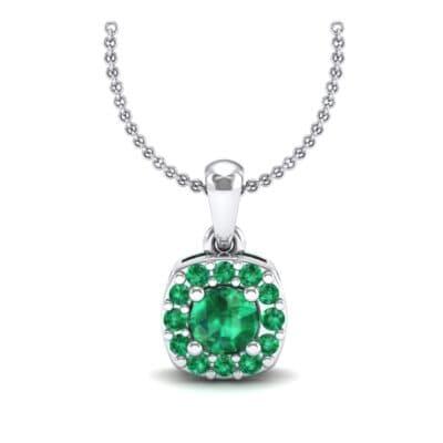 Cushion-Cut Halo Emerald Pendant (0.44 CTW) Top Dynamic View