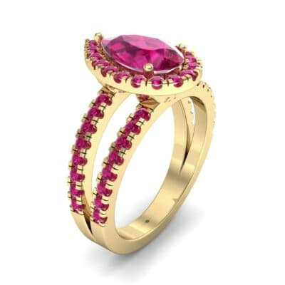 Pave Split Shank Pear Halo  Ruby Engagement Ring (1.85 Carat)