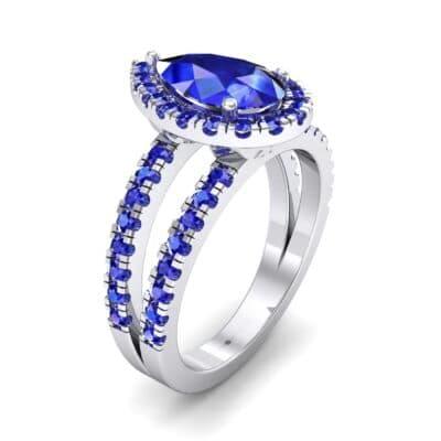Pave Split Shank Pear Halo  Blue Sapphire Engagement Ring (1.85 Carat)