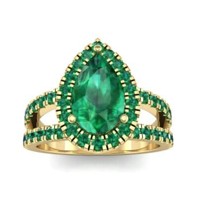Pave Split Shank Pear Halo  Emerald Engagement Ring (1.85 Carat)
