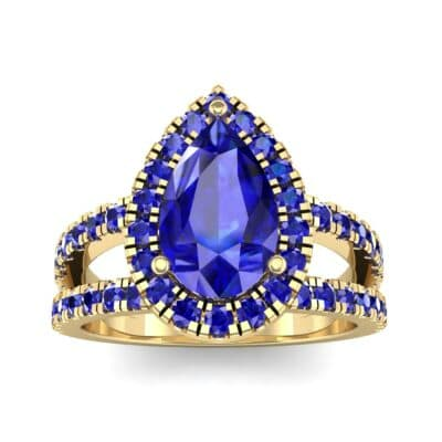 Pave Split Shank Pear Halo  Blue Sapphire Engagement Ring (1.85 Carat)