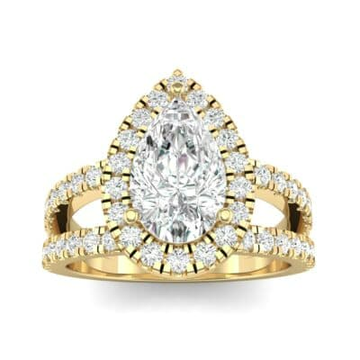 Pave Split Shank Pear Halo  Diamond Engagement Ring (1.31 Carat)