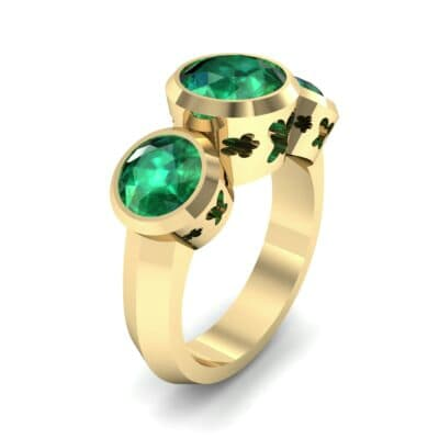 Round Bezel Three-Stone Emerald Engagement Ring (2.96 Carat)