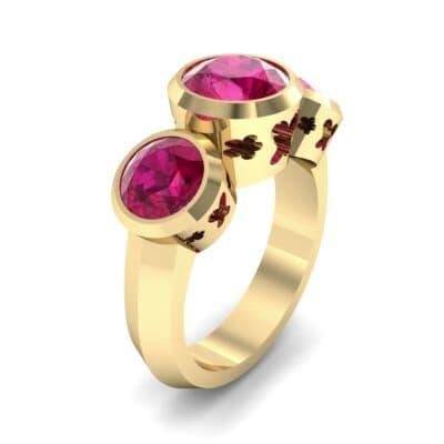 Round Bezel Three-Stone Ruby Engagement Ring (2.96 Carat)