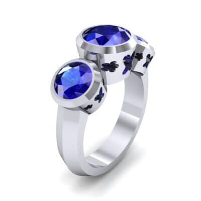 Round Bezel Three-Stone Blue Sapphire Engagement Ring (2.96 Carat)