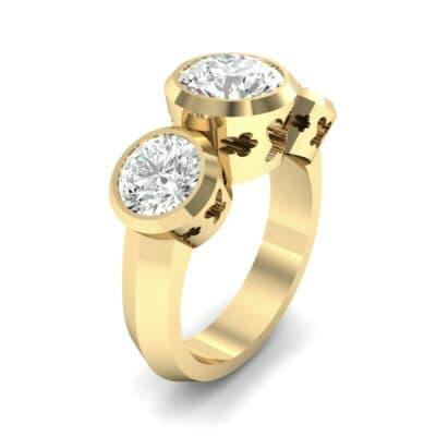 Round Bezel Three-Stone Diamond Engagement Ring (2.96 Carat)