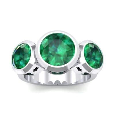 Round Bezel Three-Stone Emerald Engagement Ring (2.96 Carat)