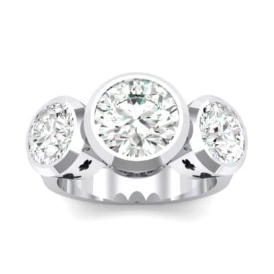 Round Bezel Three-Stone Crystals Engagement Ring (2.96 Carat)