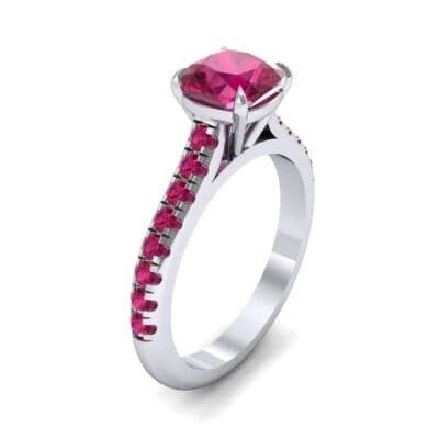 Claw Prong Pave Ruby Engagement Ring (1.35 Carat)