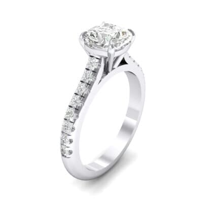 Claw Prong Pave Crystal Engagement Ring (0.93 CTW)