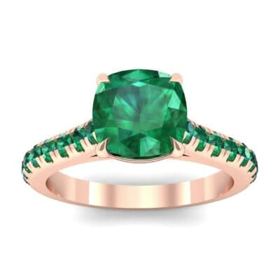 Claw Prong Pave Emerald Engagement Ring (1.35 Carat)