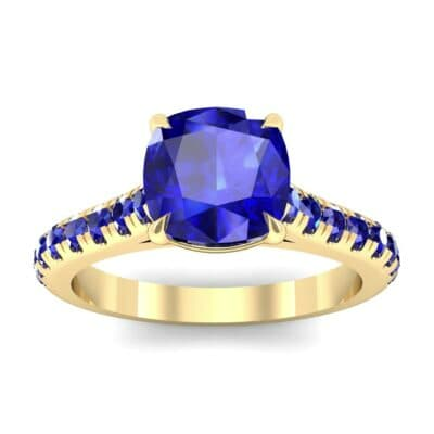 Claw Prong Pave Blue Sapphire Engagement Ring (1.35 Carat)