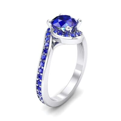 Embrace Pave Blue Sapphire Bypass Engagement Ring (1.52 Carat)