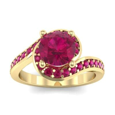 Embrace Pave Ruby Bypass Engagement Ring (1.52 Carat)