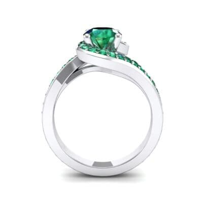Embrace Pave Emerald Bypass Engagement Ring (1.52 CTW) Side View